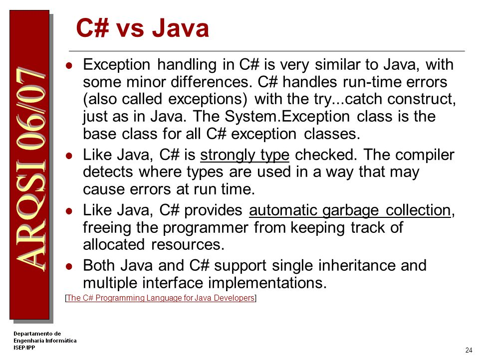 .Net Apprentice C# vs Java.