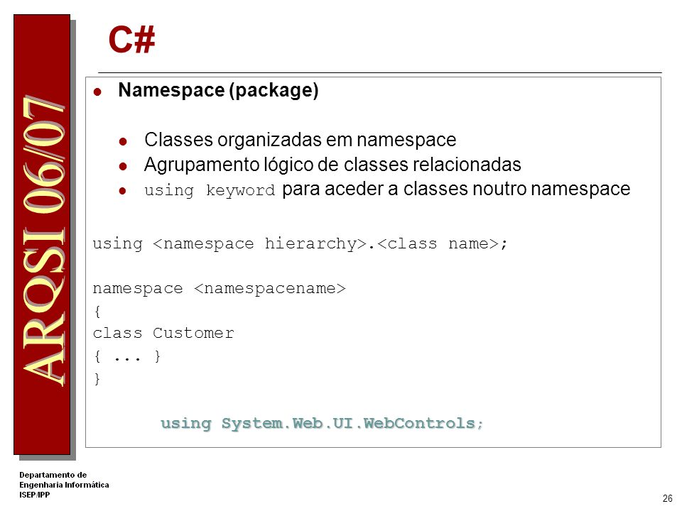 C# Namespace (package) Classes organizadas em namespace