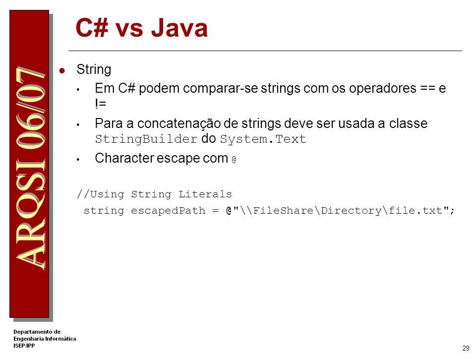 .Net Apprentice C# vs Java. String. Em C# podem comparar-se strings com os operadores == e !=