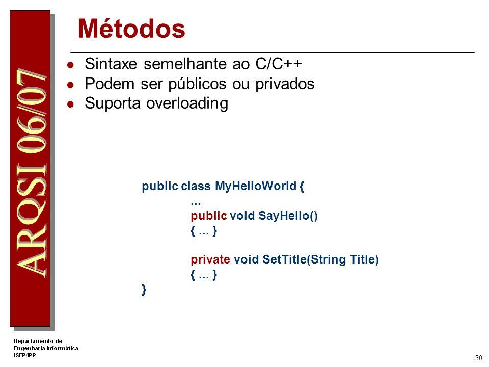 Métodos Sintaxe semelhante ao C/C++ Podem ser públicos ou privados