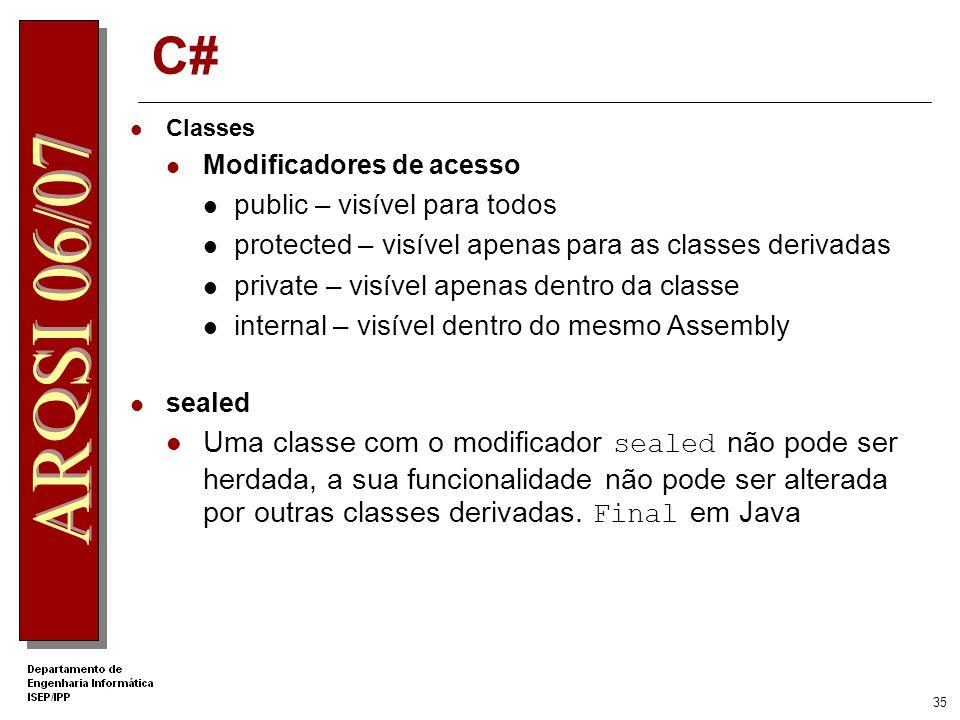 .Net Apprentice C# Classes. Modificadores de acesso. public – visível para todos. protected – visível apenas para as classes derivadas.
