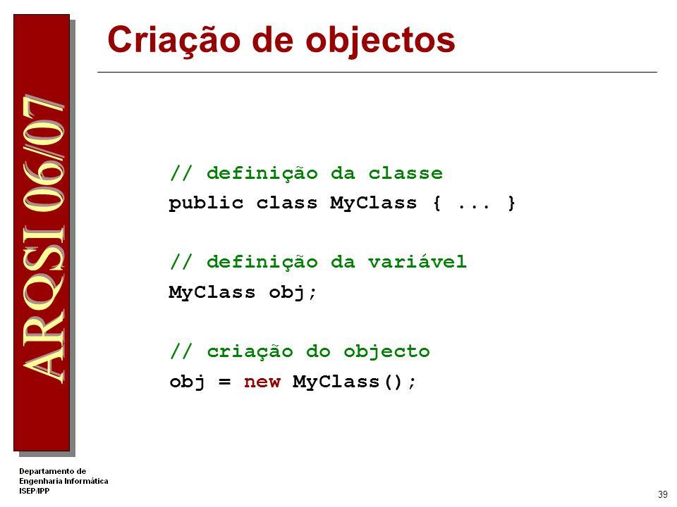 Criação de objectos // definição da classe