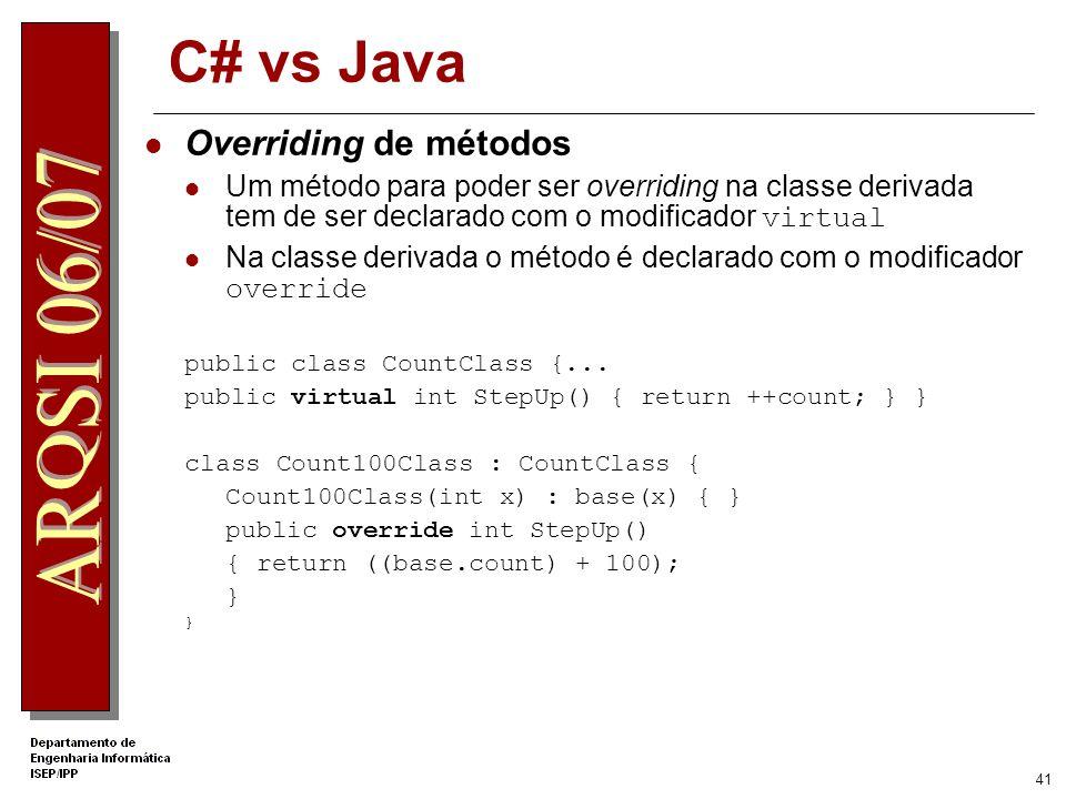 C# vs Java Overriding de métodos