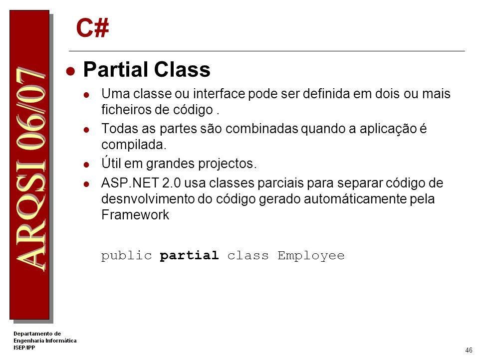 C# Partial Class public partial class Employee