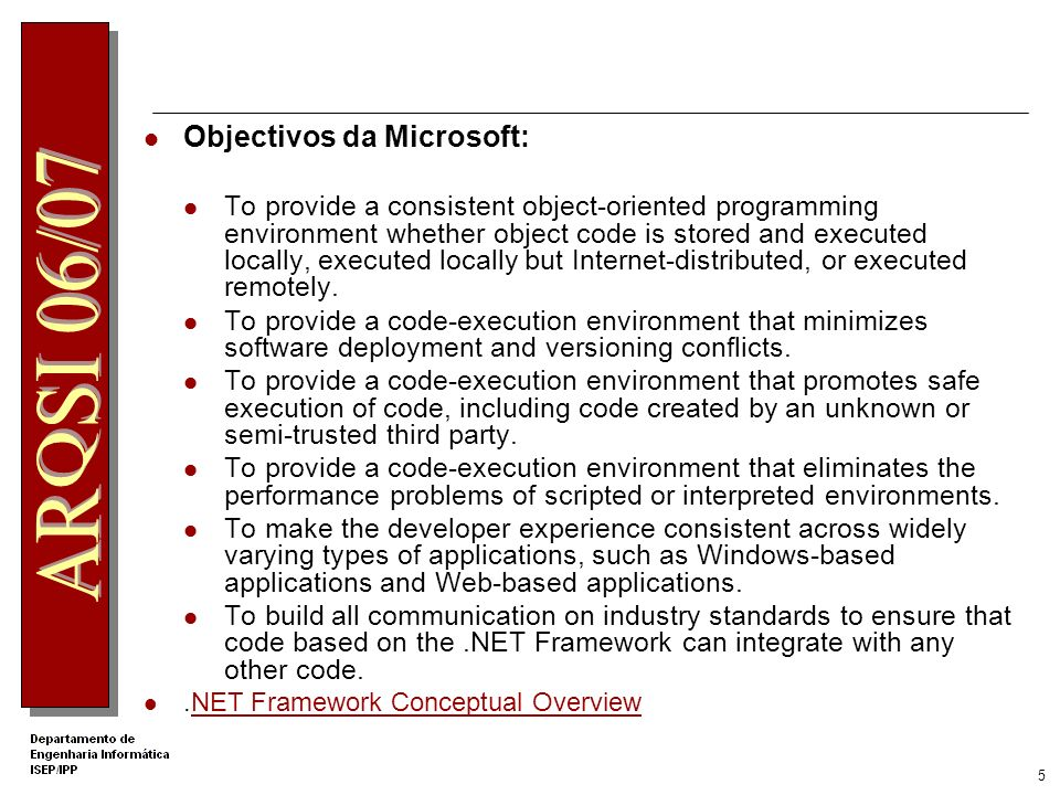 Objectivos da Microsoft: