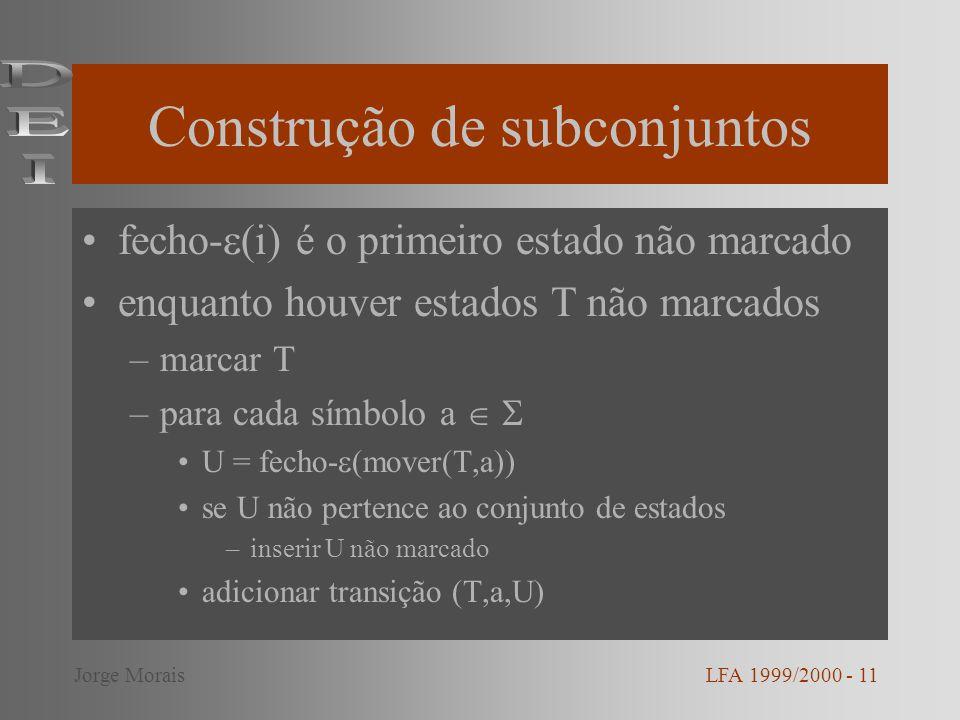 Construção de subconjuntos