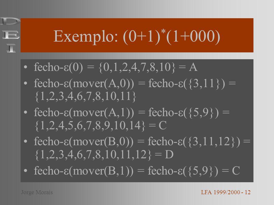 Exemplo: (0+1)*(1+000) DEI fecho-(0) = {0,1,2,4,7,8,10} = A