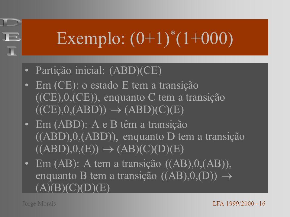 Exemplo: (0+1)*(1+000) DEI Partição inicial: (ABD)(CE)