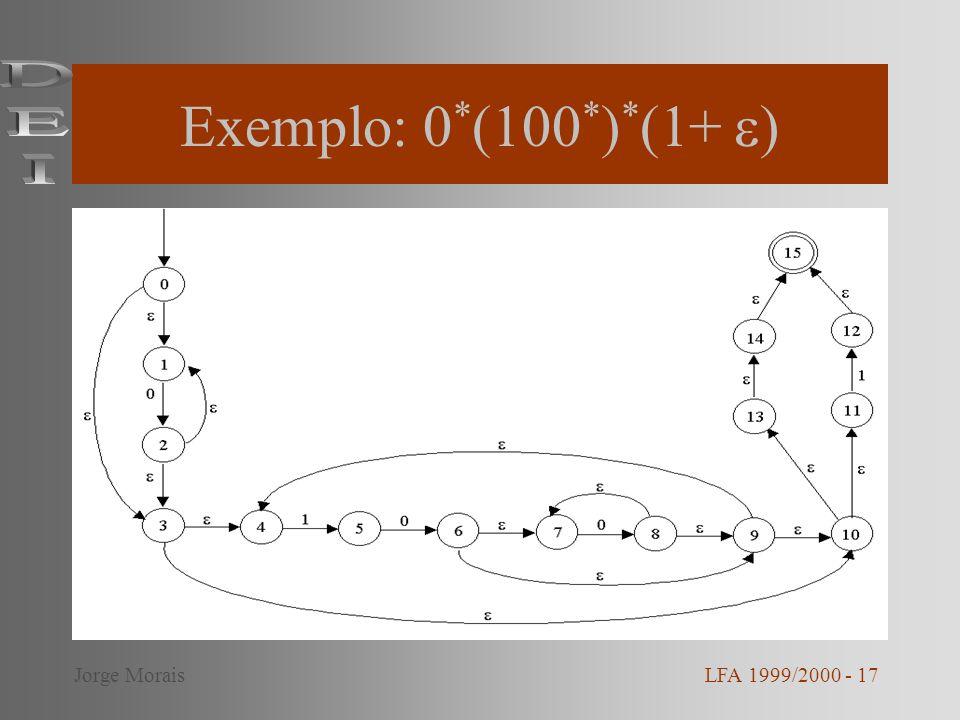 Exemplo: 0*(100*)*(1+ ) DEI Jorge Morais LFA 1999/2000 - 17