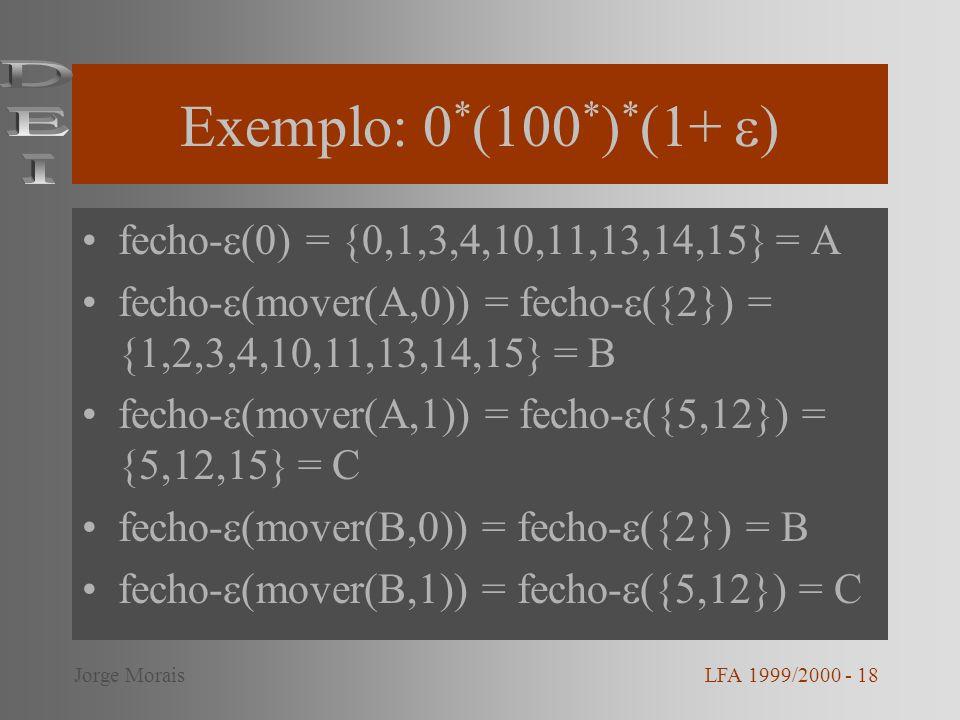 Exemplo: 0*(100*)*(1+ ) DEI fecho-(0) = {0,1,3,4,10,11,13,14,15} = A