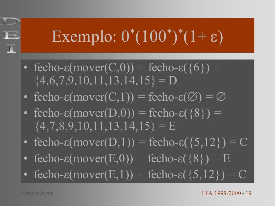 Exemplo: 0*(100*)*(1+ ) DEI