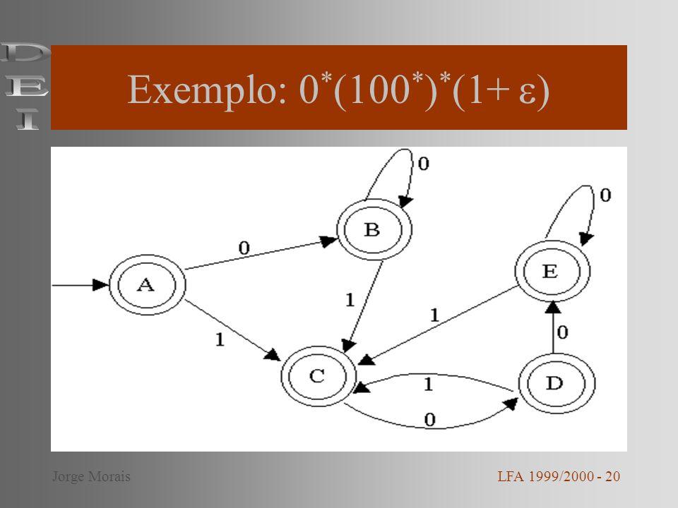 Exemplo: 0*(100*)*(1+ ) DEI Jorge Morais LFA 1999/2000 - 20