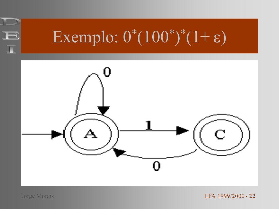 Exemplo: 0*(100*)*(1+ ) DEI Jorge Morais LFA 1999/2000 - 22