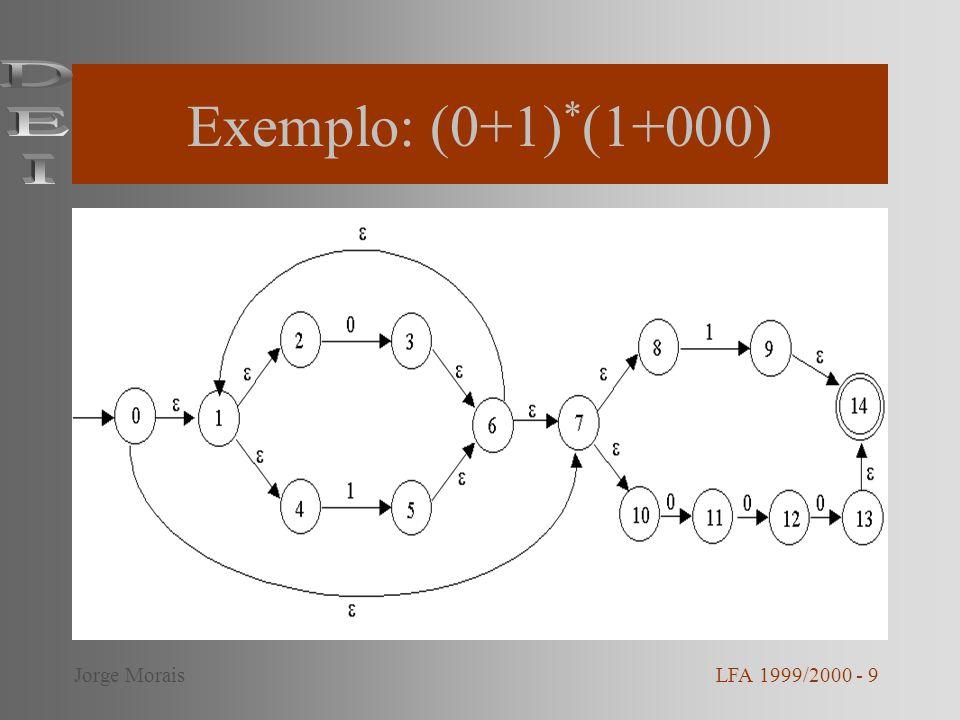 Exemplo: (0+1)*(1+000) DEI Jorge Morais LFA 1999/2000 - 9