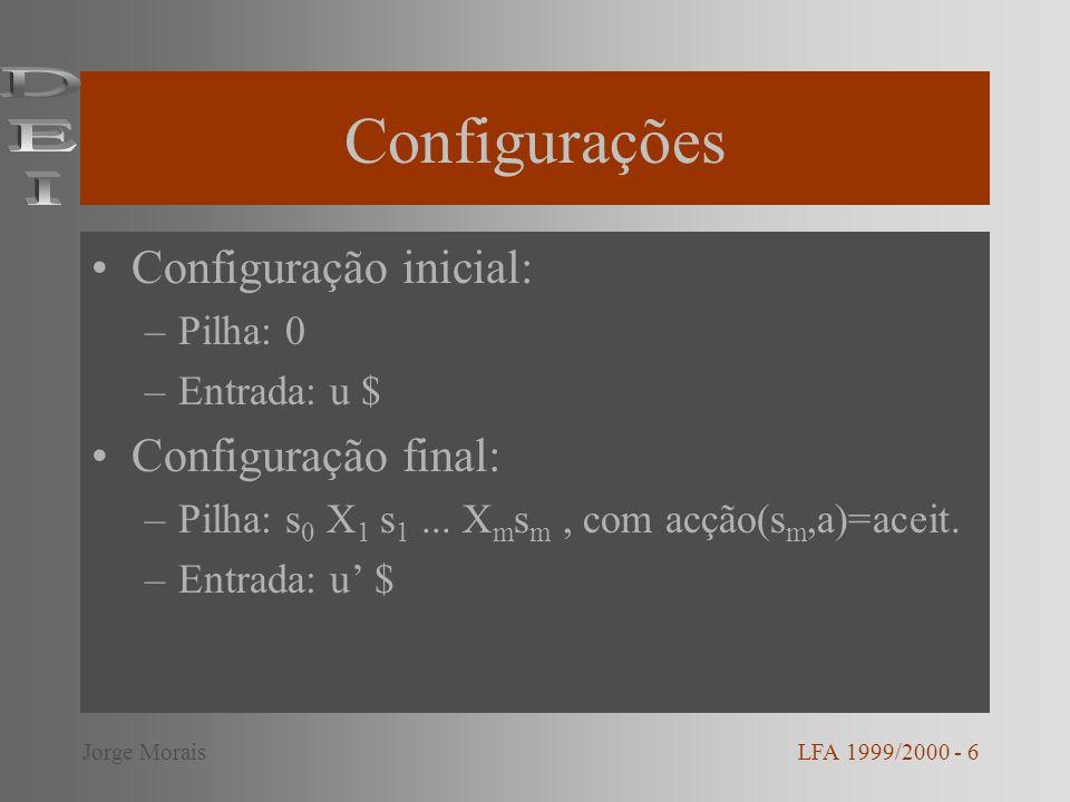 Configurações DEI Configuração inicial: Configuração final: Pilha: 0