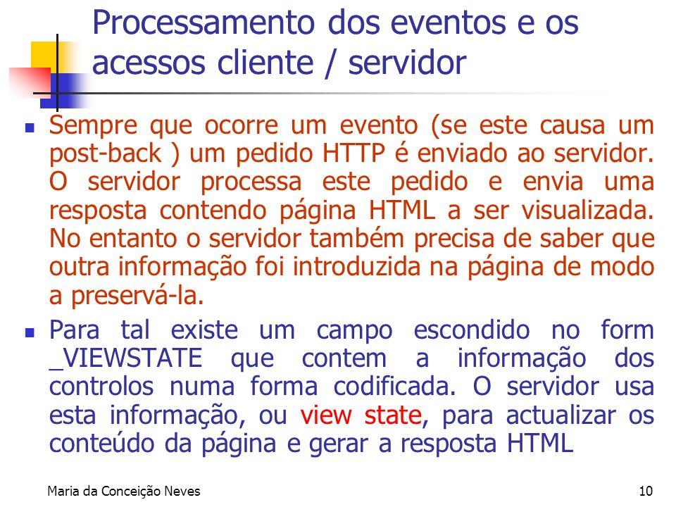 Processamento dos eventos e os acessos cliente / servidor