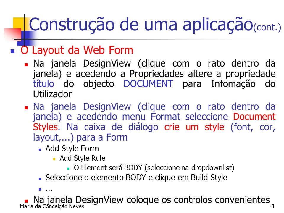 Construção de uma aplicação(cont.)
