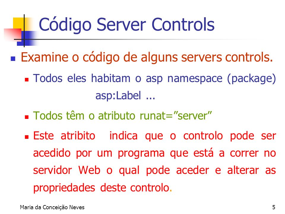 Código Server Controls