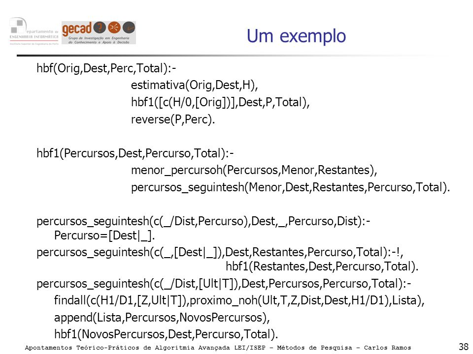 Um exemplo hbf(Orig,Dest,Perc,Total):- estimativa(Orig,Dest,H),