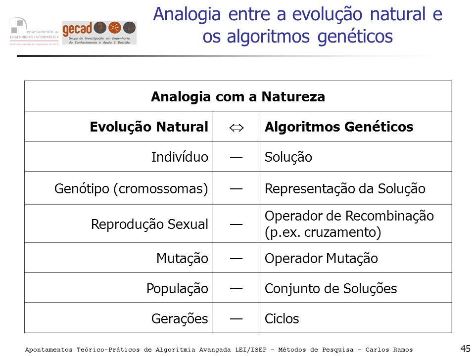 Analogia entre a evolução natural e os algoritmos genéticos