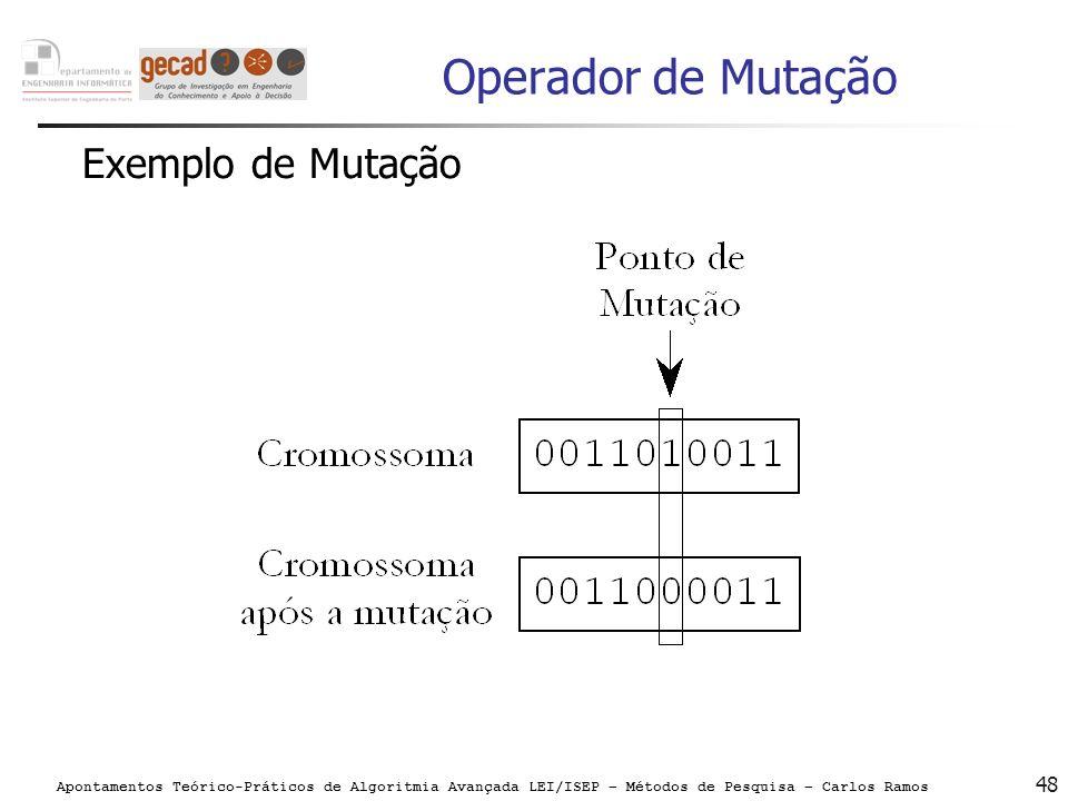 Operador de Mutação Exemplo de Mutação