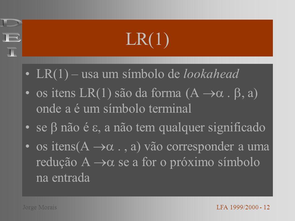 LR(1) DEI LR(1) – usa um símbolo de lookahead