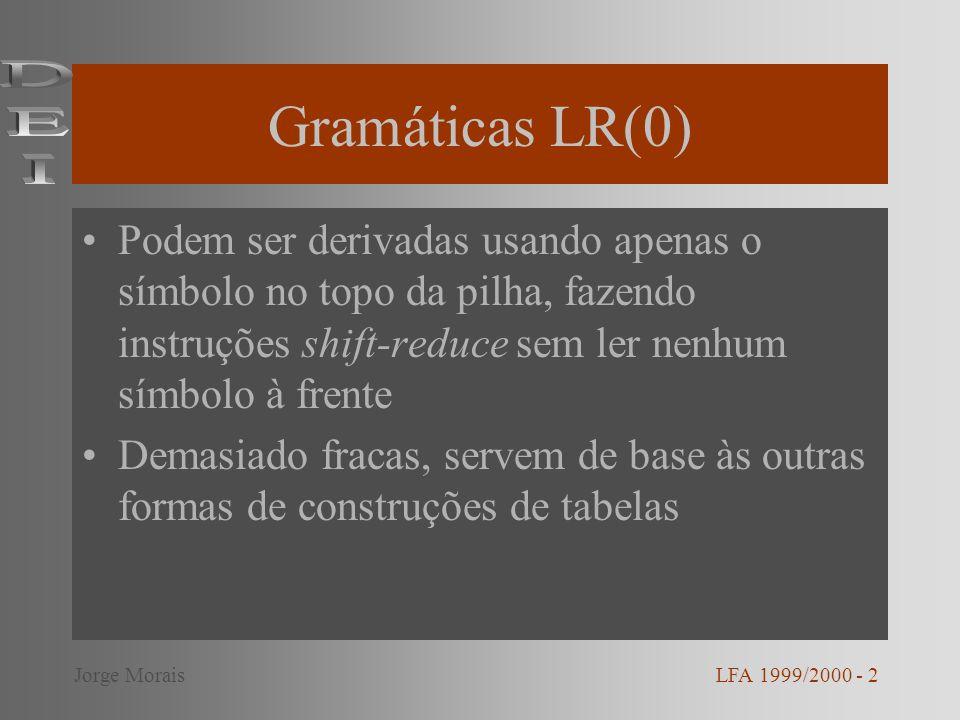 Gramáticas LR(0) DEI. Podem ser derivadas usando apenas o símbolo no topo da pilha, fazendo instruções shift-reduce sem ler nenhum símbolo à frente.