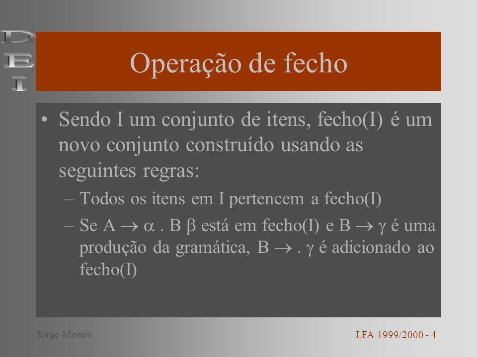 Operação de fecho DEI. Sendo I um conjunto de itens, fecho(I) é um novo conjunto construído usando as seguintes regras: