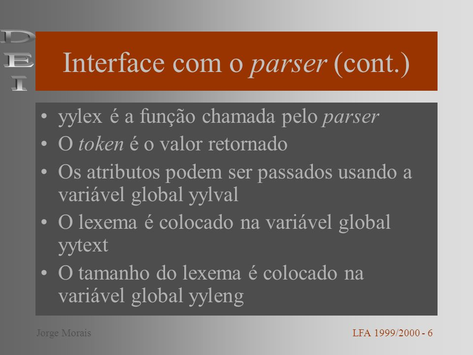 Interface com o parser (cont.)