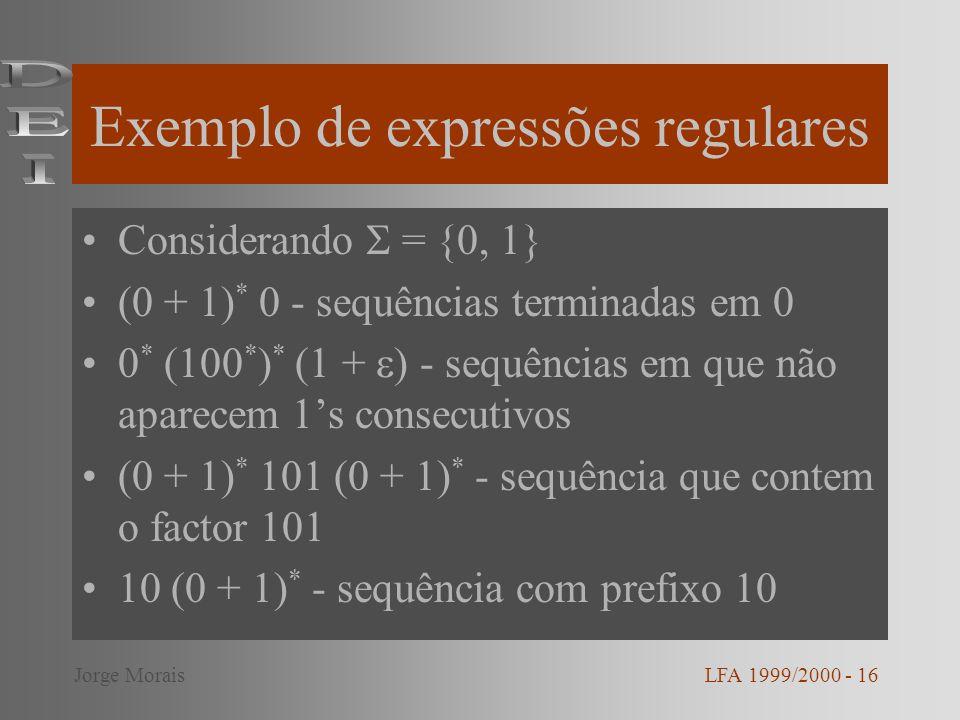 Exemplo de expressões regulares