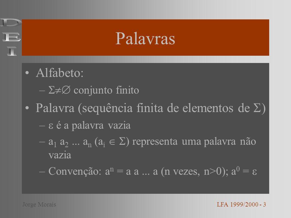 Palavras DEI Alfabeto: Palavra (sequência finita de elementos de )