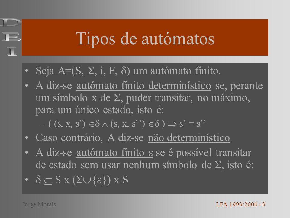 Tipos de autómatos DEI Seja A=(S, , i, F, ) um autómato finito.