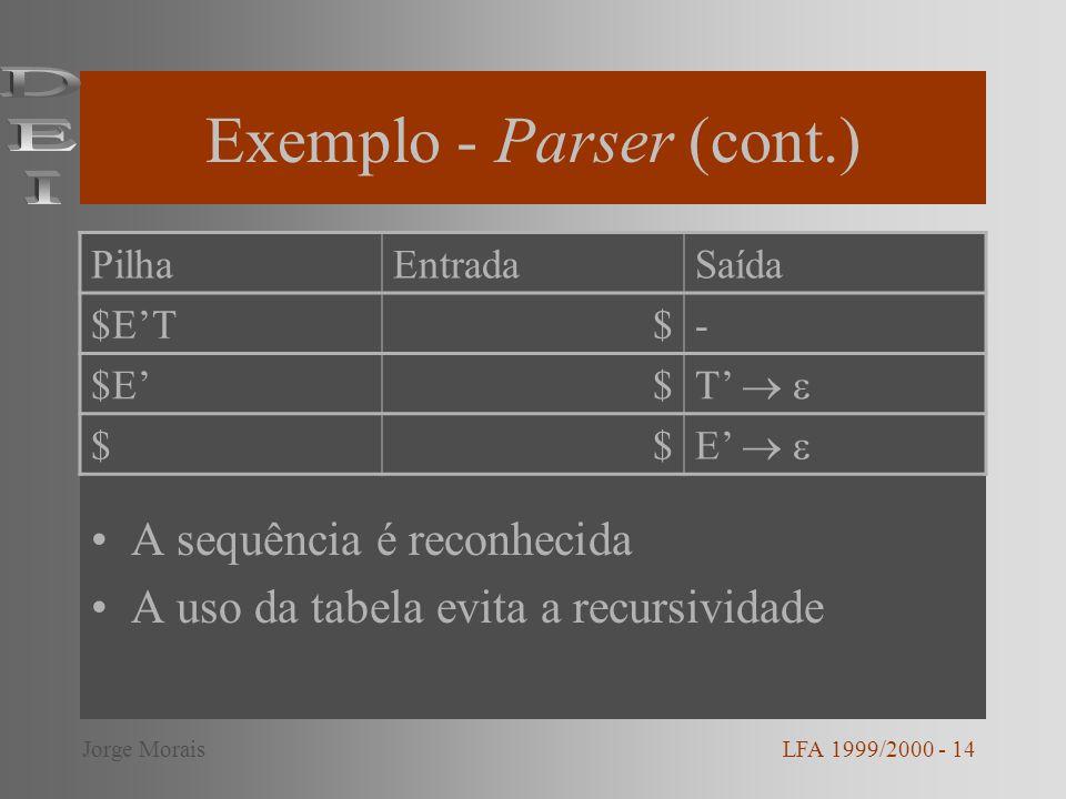 Exemplo - Parser (cont.)