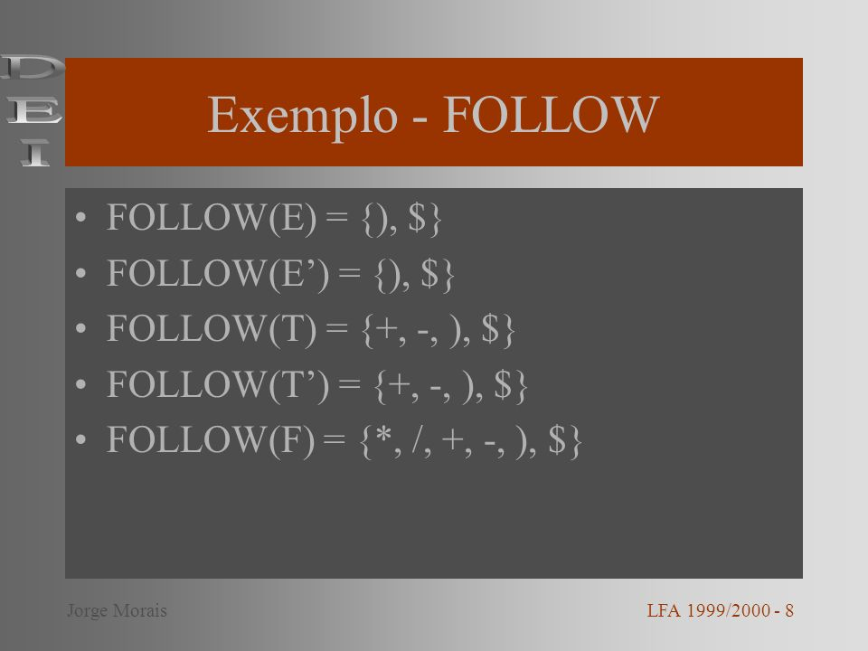 Exemplo - FOLLOW DEI FOLLOW(E) = {), $} FOLLOW(E') = {), $}