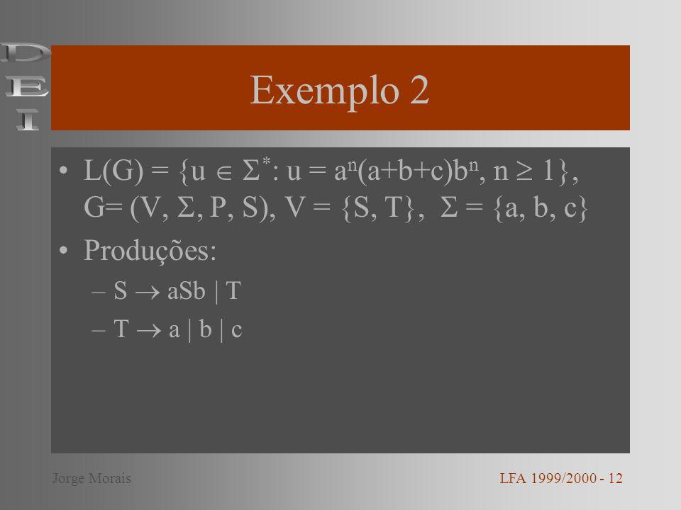 Exemplo 2 DEI. L(G) = {u  *: u = an(a+b+c)bn, n  1}, G= (V, , P, S), V = {S, T},  = {a, b, c}