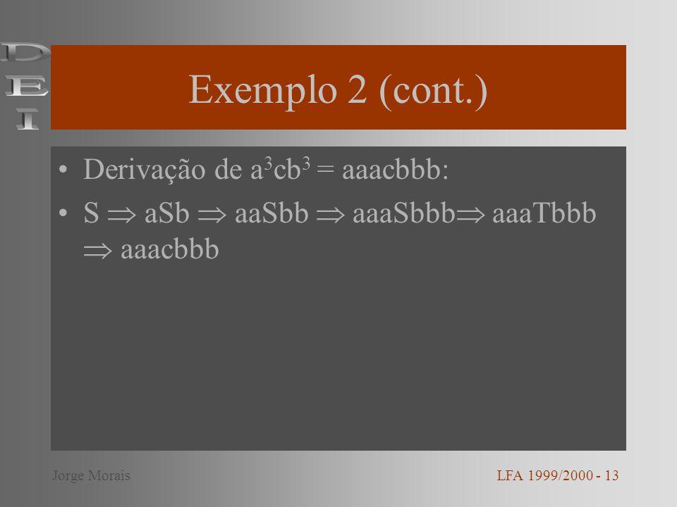 Exemplo 2 (cont.) DEI Derivação de a3cb3 = aaacbbb: