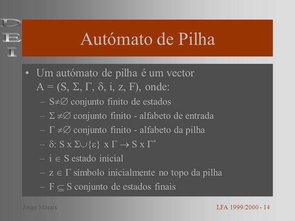 Autómato de Pilha DEI. Um autómato de pilha é um vector A = (S, , , , i, z, F), onde: S conjunto finito de estados.