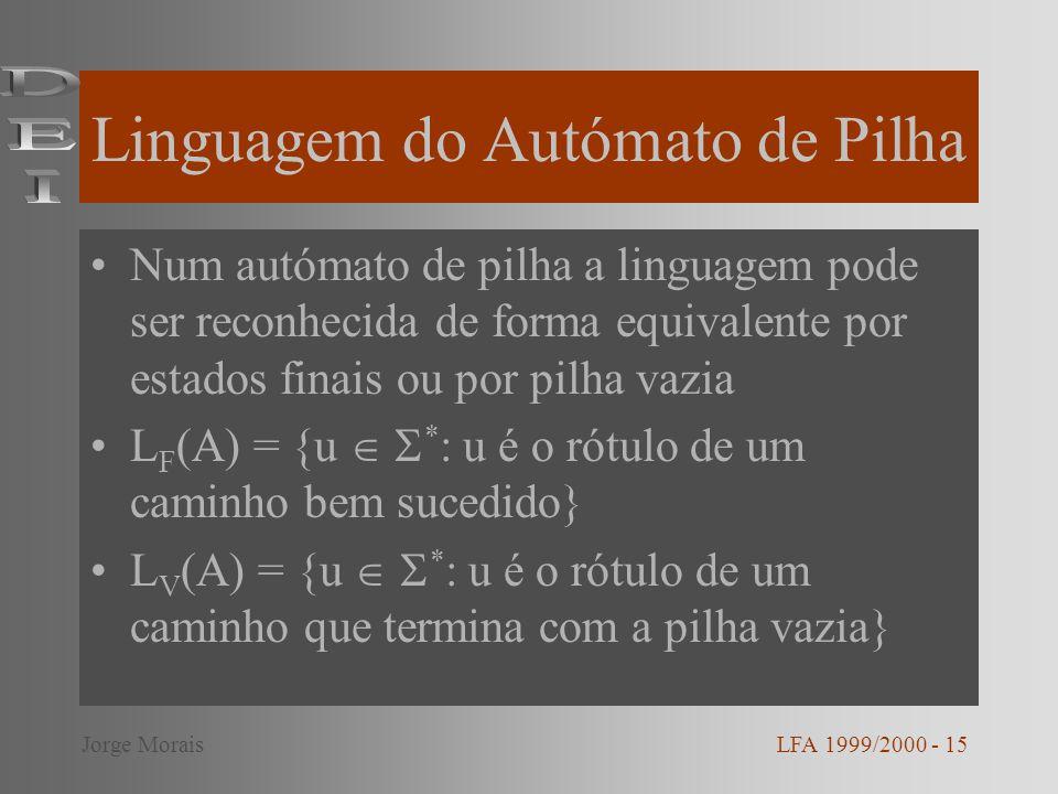 Linguagem do Autómato de Pilha