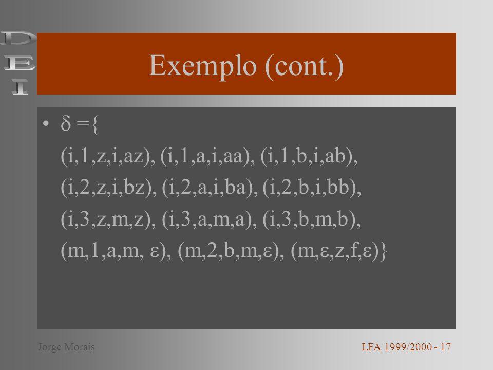 Exemplo (cont.) DEI  ={ (i,1,z,i,az), (i,1,a,i,aa), (i,1,b,i,ab),