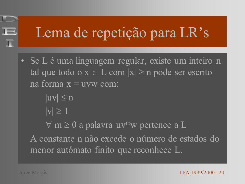 Lema de repetição para LR's