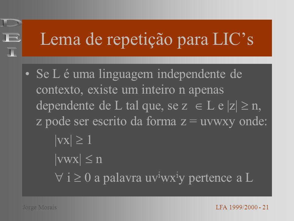 Lema de repetição para LIC's