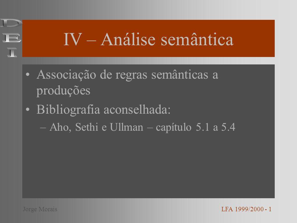 IV – Análise semântica DEI Associação de regras semânticas a produções