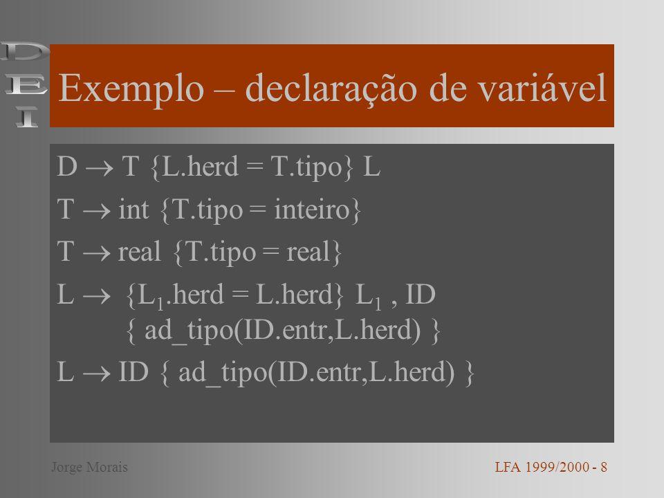 Exemplo – declaração de variável