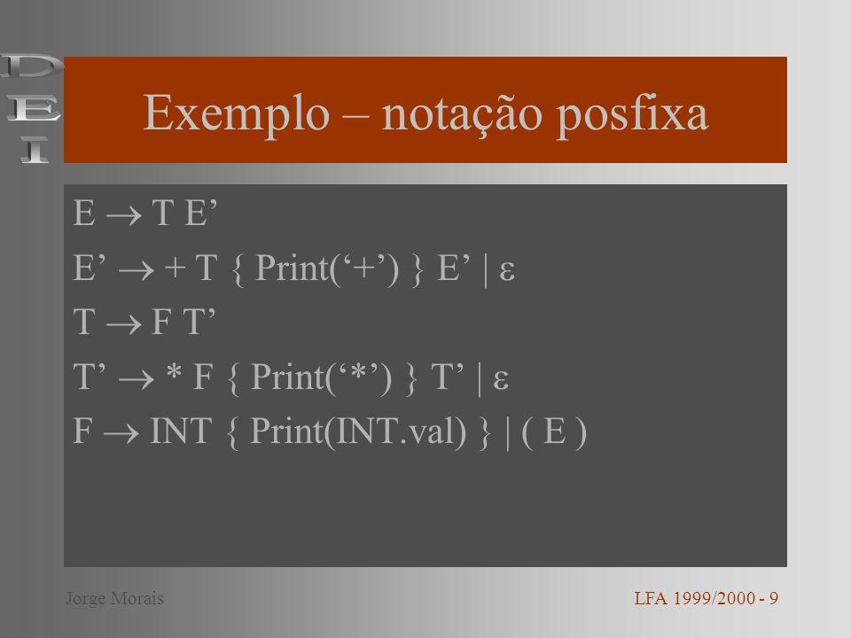 Exemplo – notação posfixa