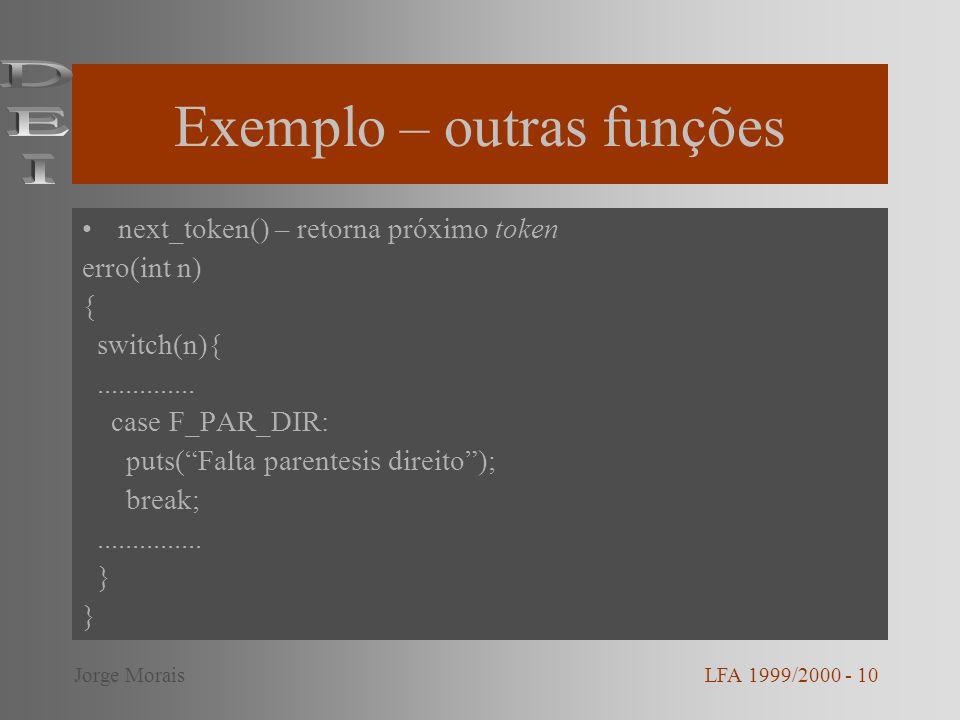 Exemplo – outras funções