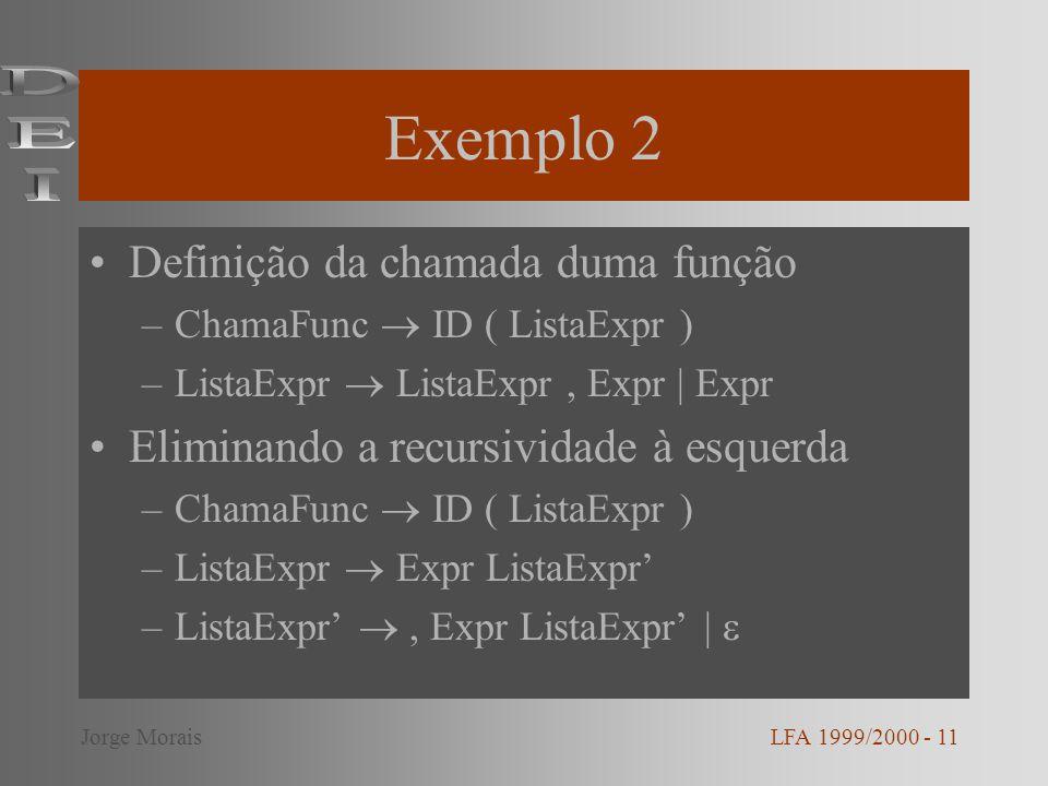 Exemplo 2 DEI Definição da chamada duma função
