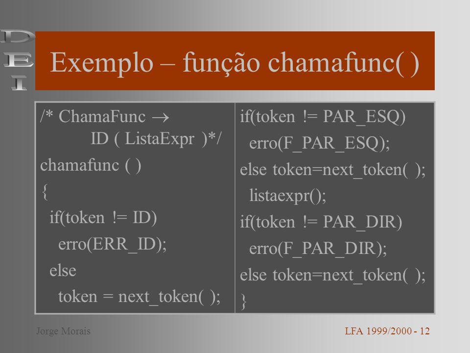 Exemplo – função chamafunc( )