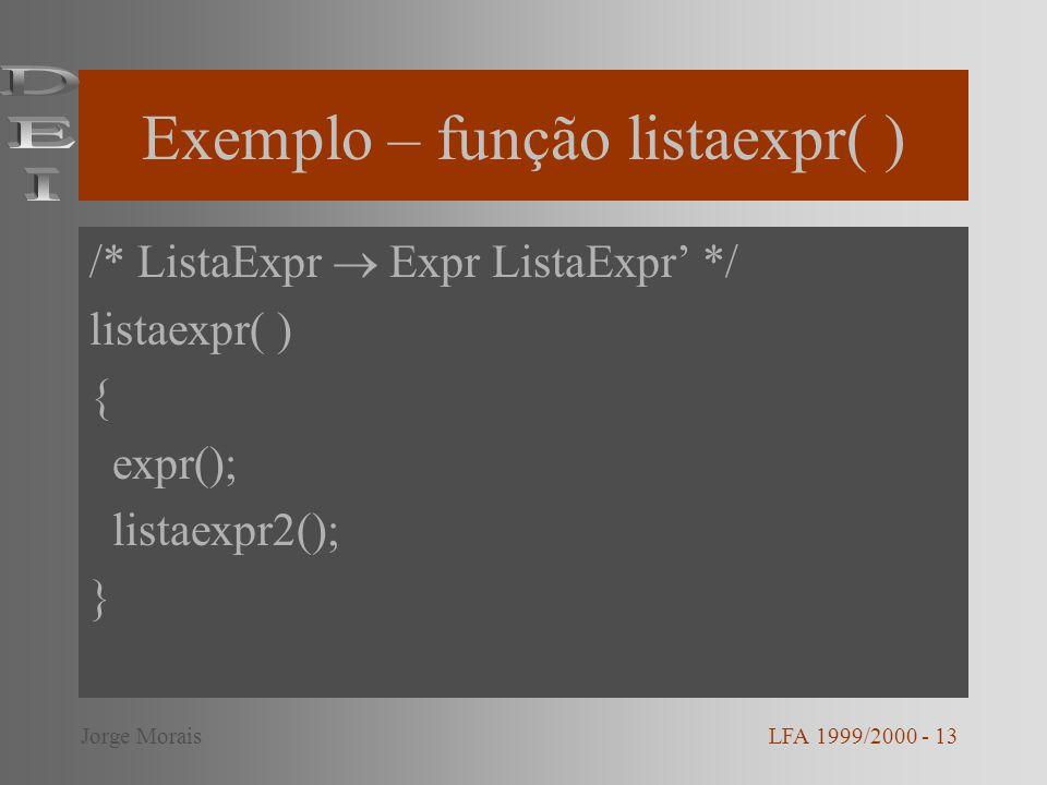 Exemplo – função listaexpr( )