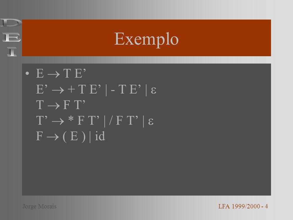 Exemplo DEI. E  T E' E'  + T E' | - T E' |  T  F T' T'  * F T' | / F T' |  F  ( E ) | id. Jorge Morais.