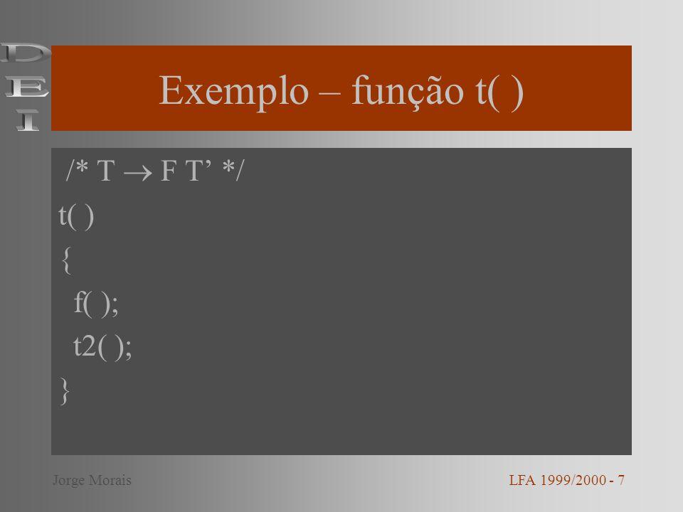 Exemplo – função t( ) DEI /* T  F T' */ t( ) { f( ); t2( ); }